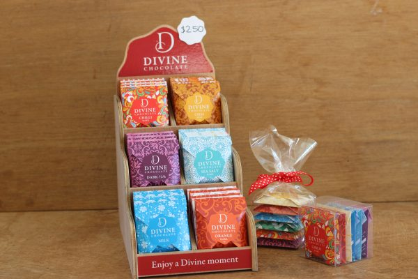 Divine chocolate counter stand and gift bags and boxes